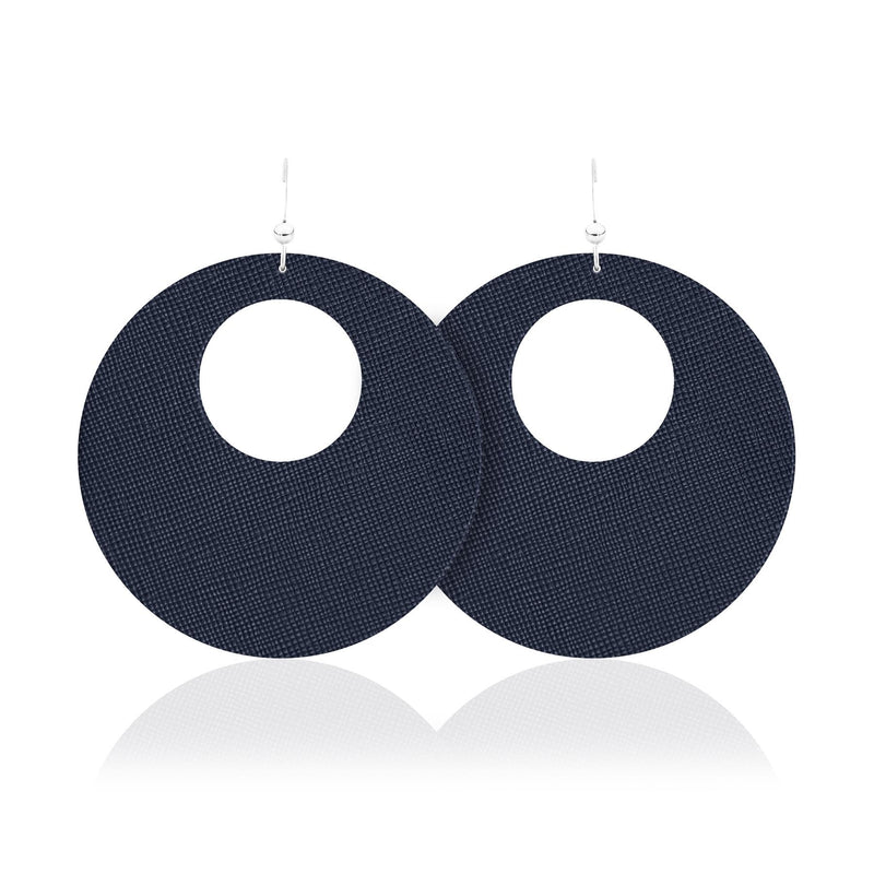 Navy Leather Round Earrings