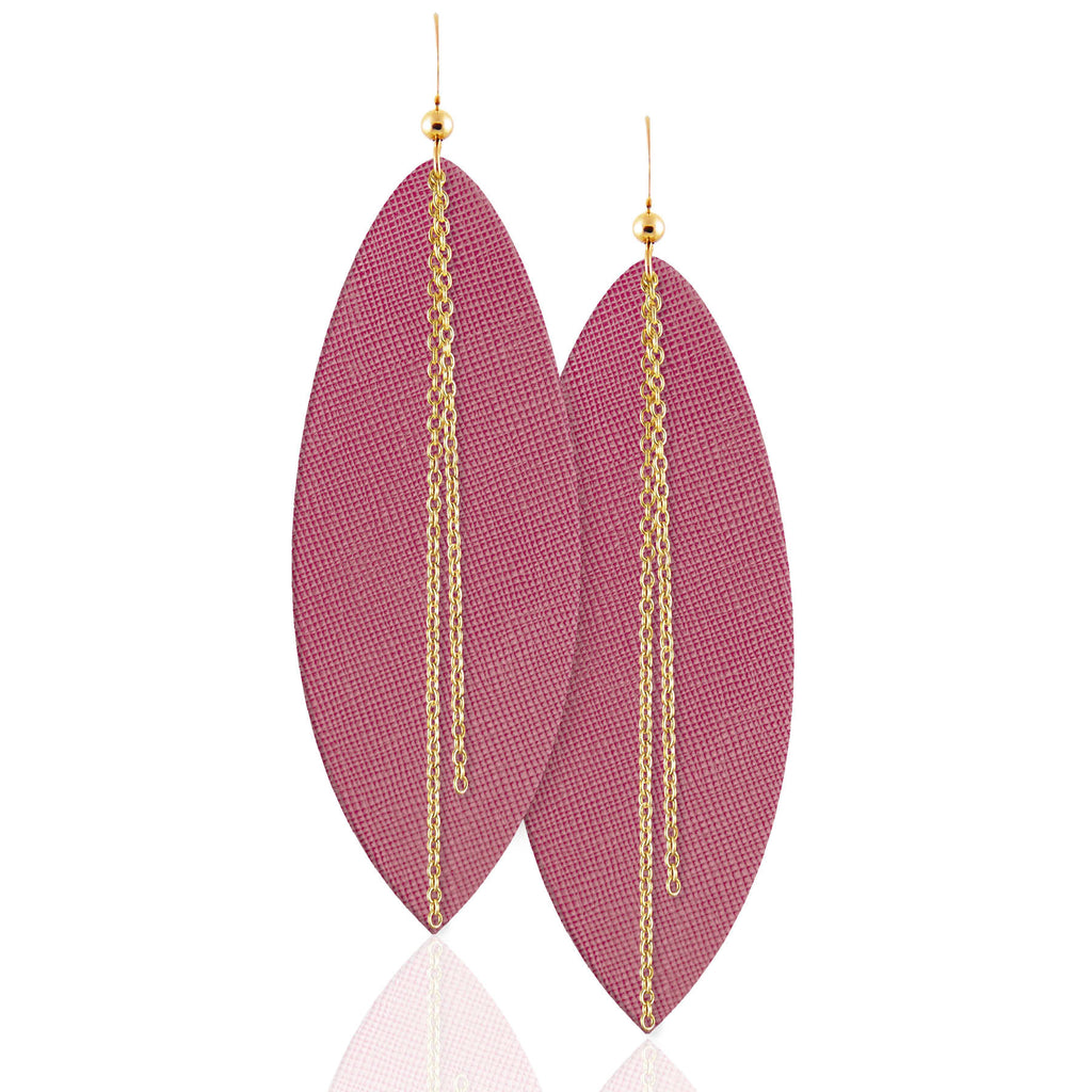 Dusty Rose Linked Leather Earrings ©