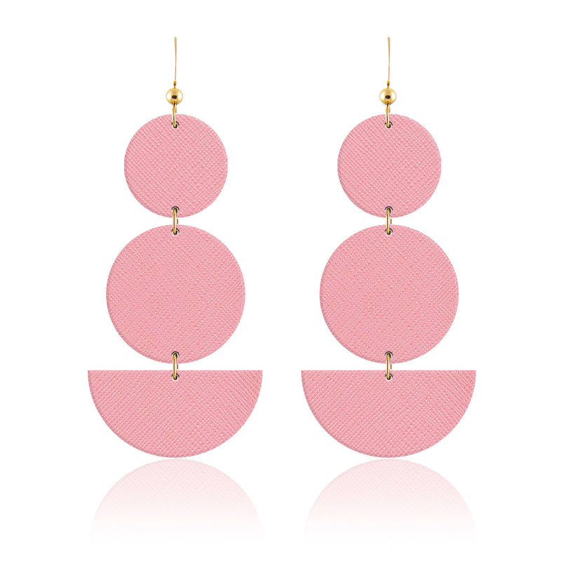 Pink Leather Geometric Earrings