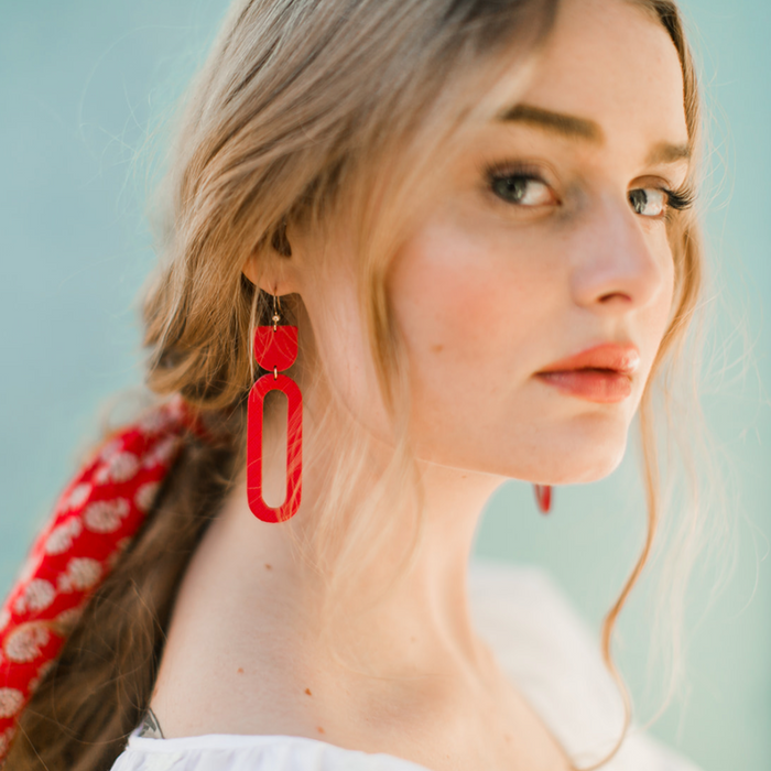 The Asbury Leather Earrings in Cherry Red ©