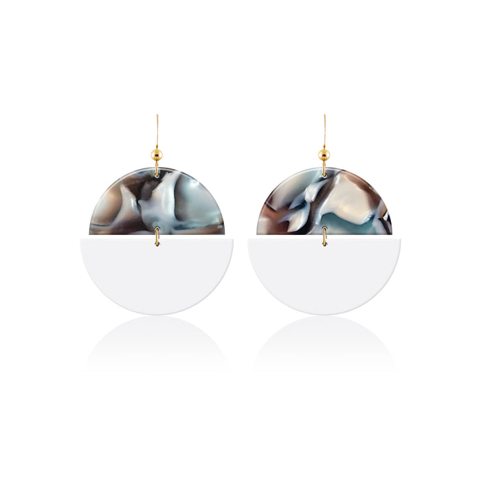 Abalone Eclipse Leather Earrings