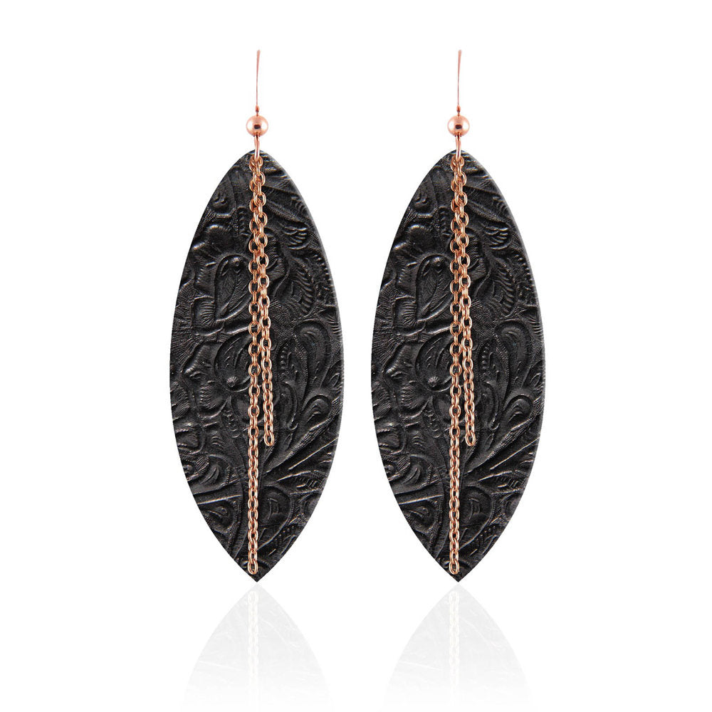 Luna Linked Leather Earrings