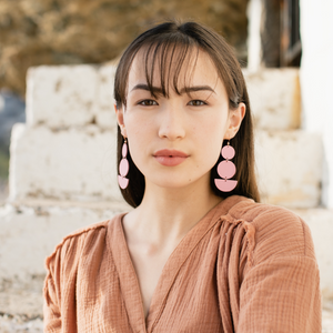 Peony Geo Drop Leather Earrings
