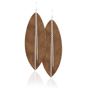 Silver Chain Leather Earrings