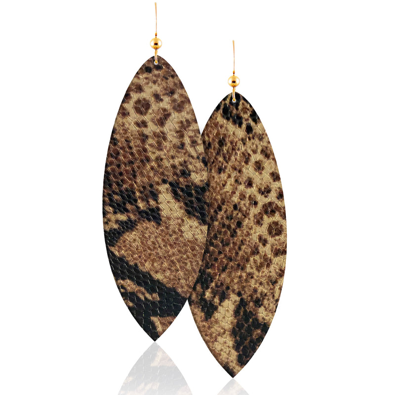 Snake Print Leather Earrings