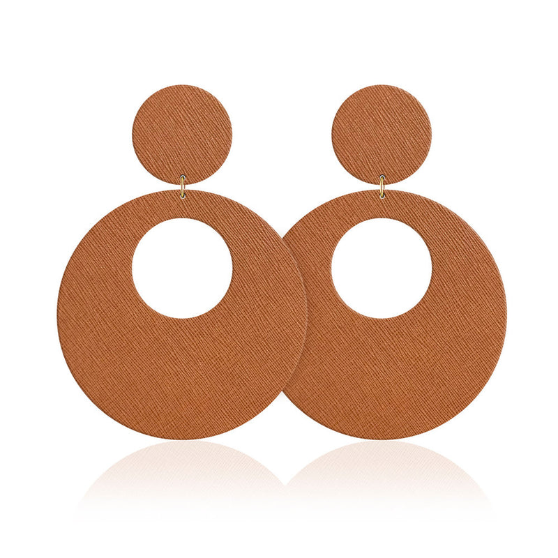 Due Cognac Revolve Leather Earrings