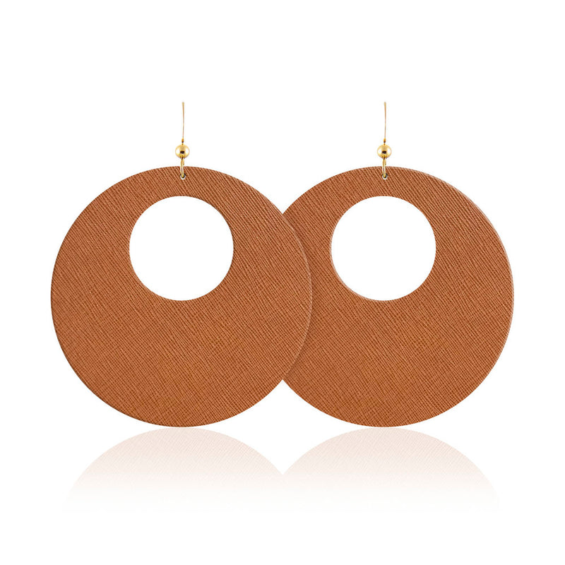 Cognac Revolve Leather Earrings