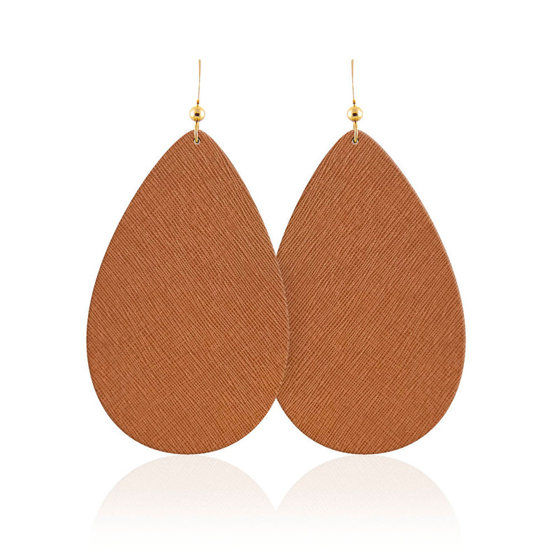 Cognac Teardrop Leather Earrings