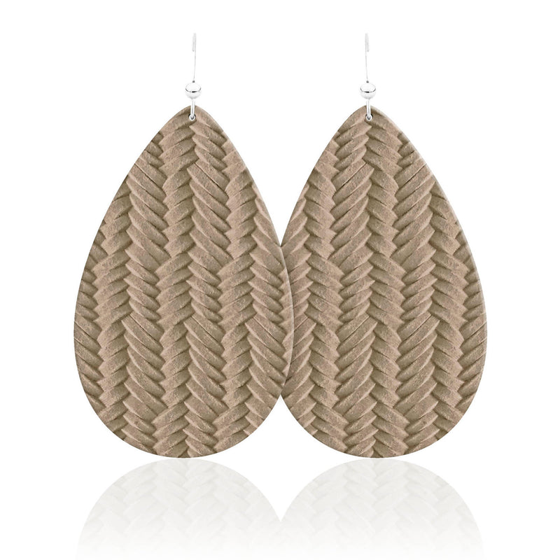 Wheat Braid Teardrop Leather Earrings