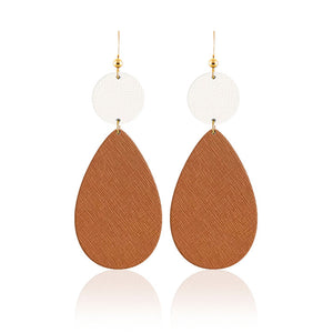 Tan and White Bauble Leather Earrings