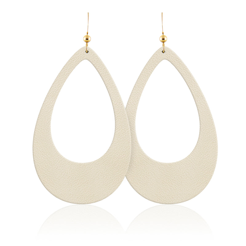 Sand Teardrop Cutout Leather Earrings
