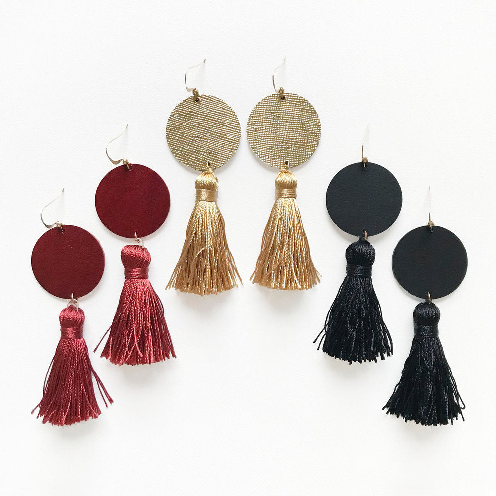 Henna Tassel Leather Earrings