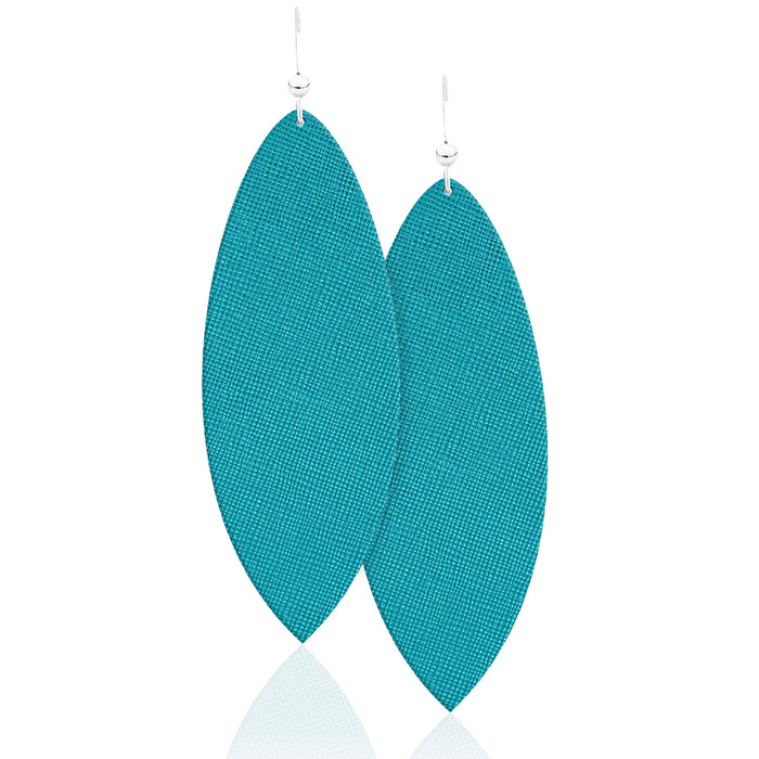The Ocean Blue Leather Earrings