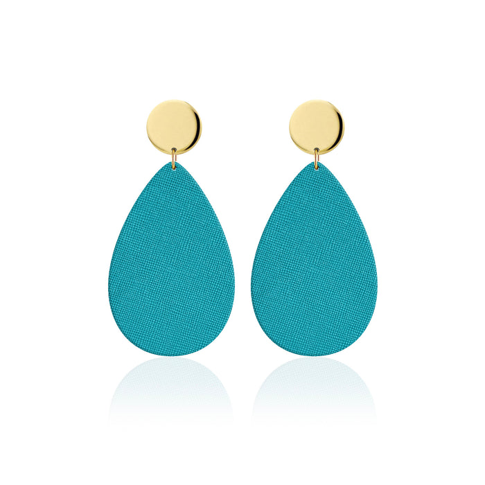 The Ocean Blue Disc Leather Earrings