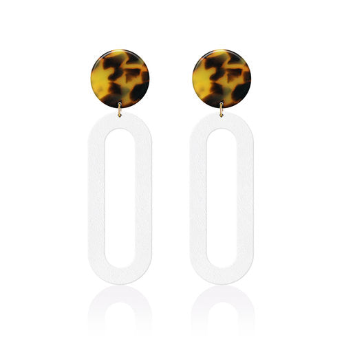 The Monroe Tortoise Leather Earrings