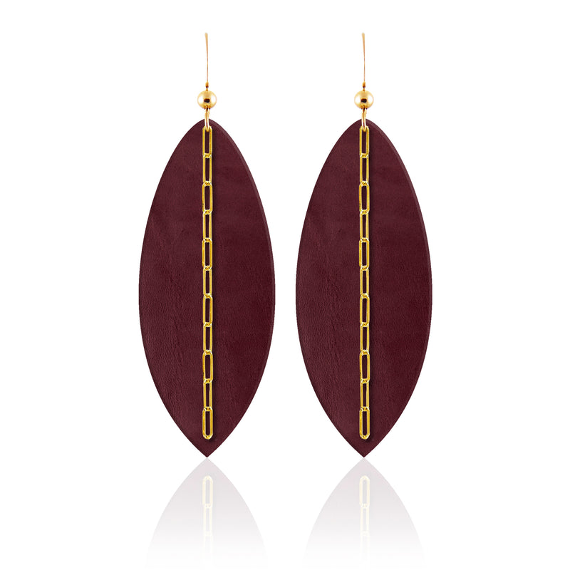 Bordeaux Linked Leather Earrings ©