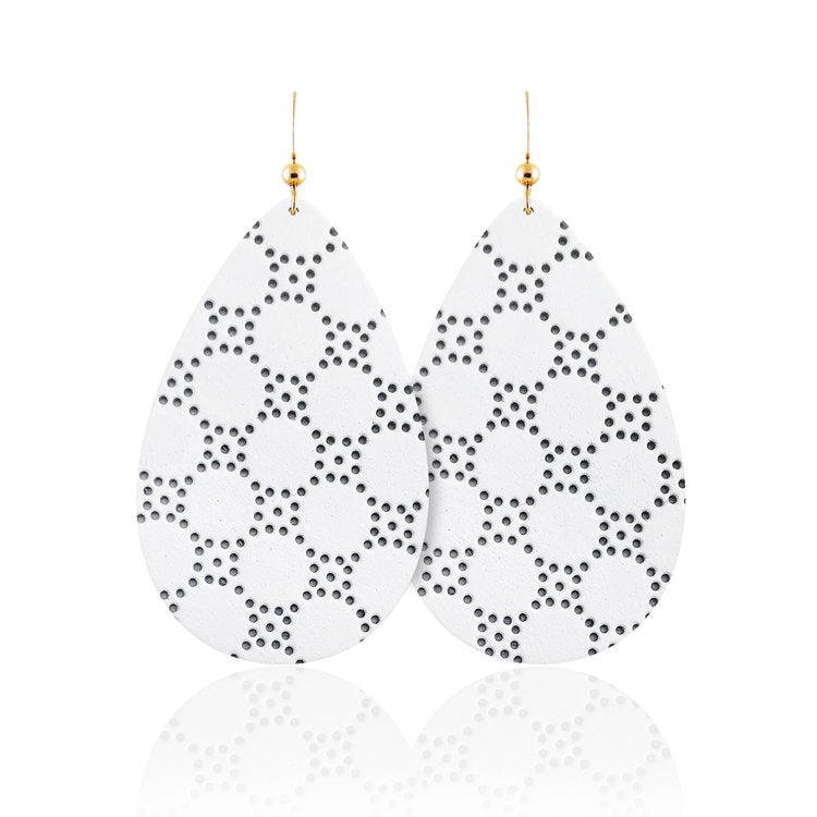 White Honeycomb Teardrop Leather Earrings