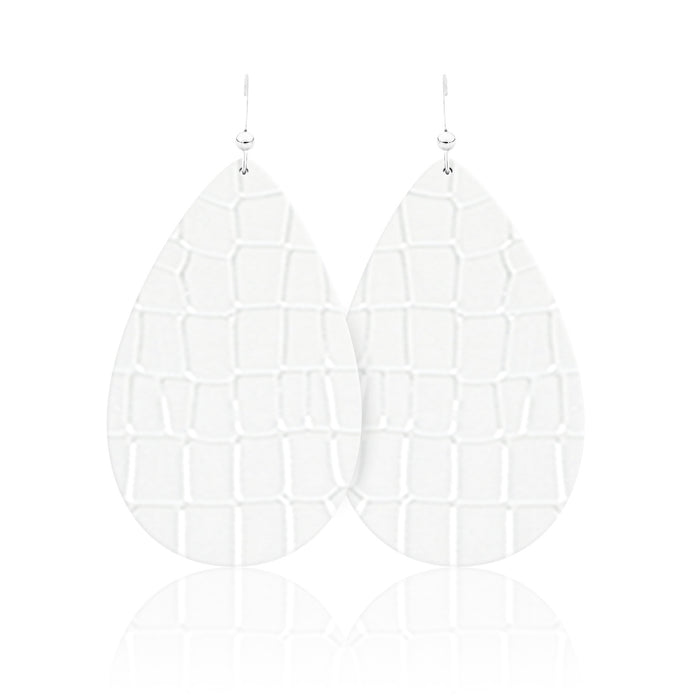 White Croc Teardrop Leather Earrings