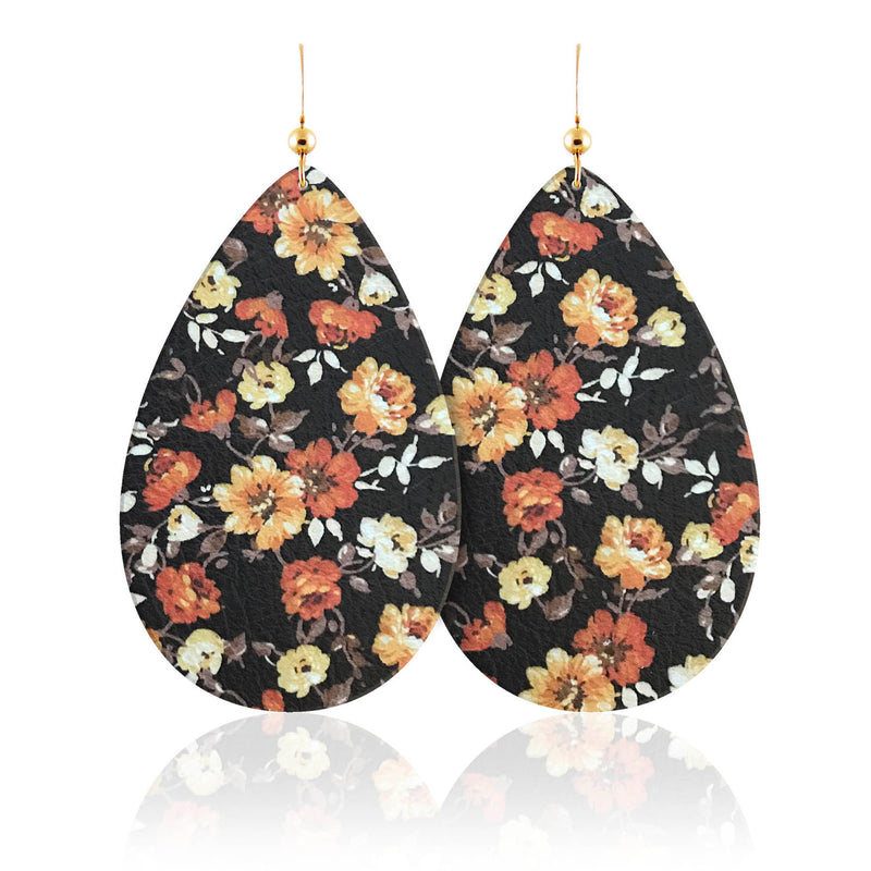 Autumn Bloom Teardrop Leather Earrings