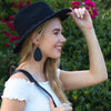 Black Teardrop Leather Earrings