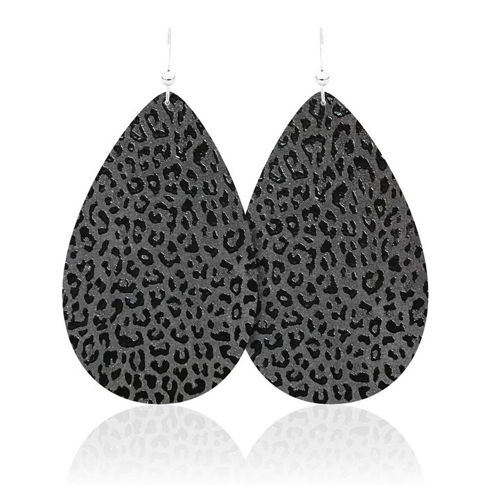 Black Panther Teardrop Leather Earrings