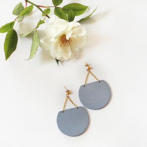 Blue Leather Circle Earrings