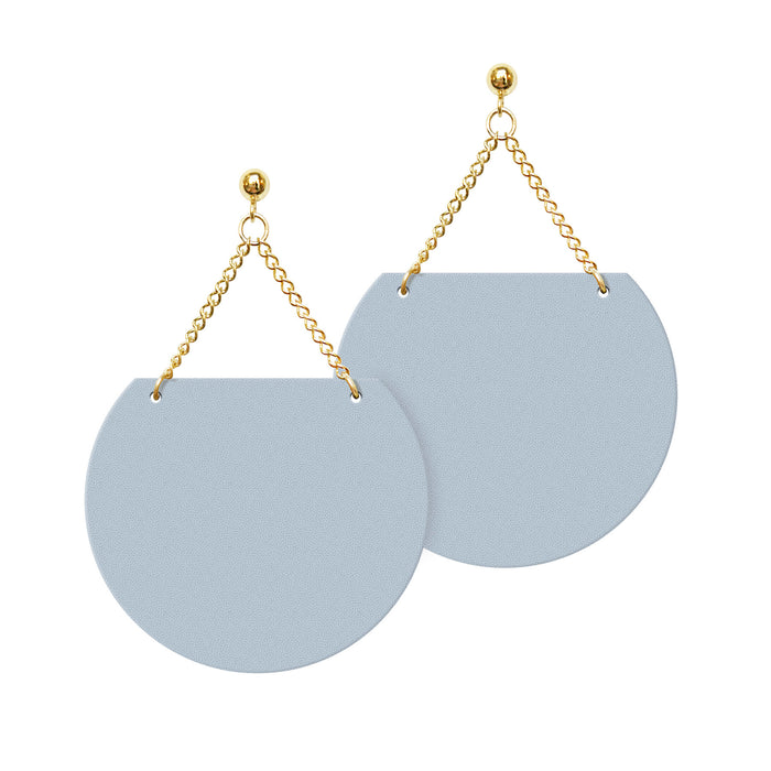 Blue Leather Earrings with Post