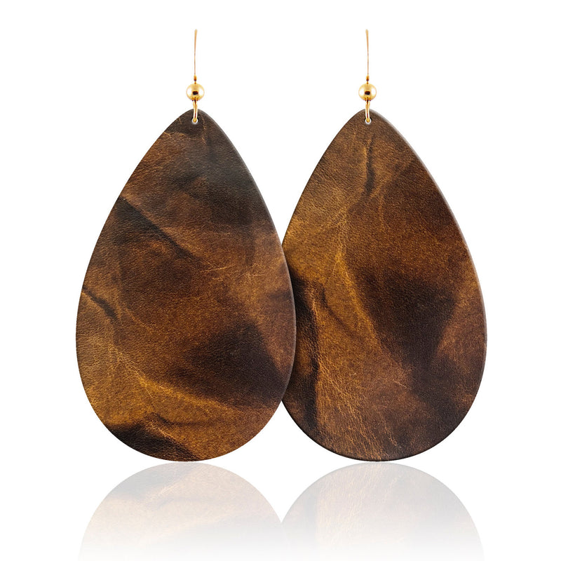 Tigers Eye Teardrop Leather Earrings