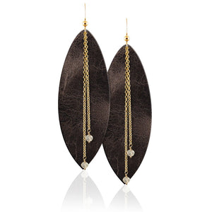 Vintage Gold Gemstone Leather Earrings