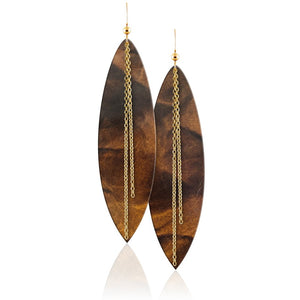 Tigers Eye Linked Leather Earrings