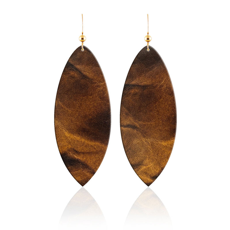 Tigers Eye Leather Earrings