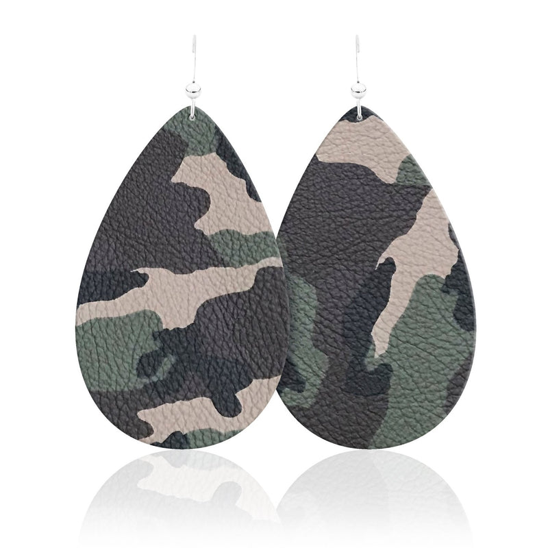 Camouflage Teardrop Leather Earrings