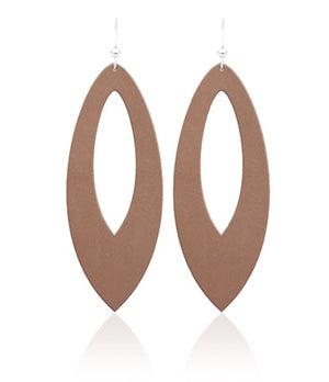 French Beige Cutout Leather Earrings