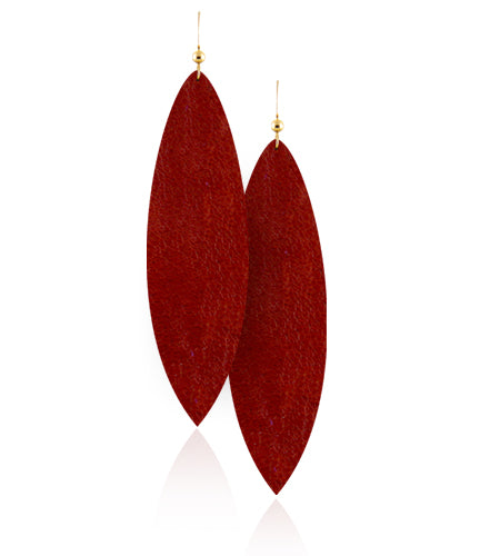 Red and Gold Leather Earrings