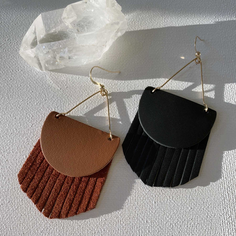 Boho Fringe Leather Earrings