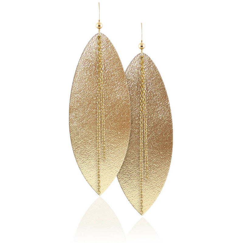 Golden Goddess Linked Leather Earrings