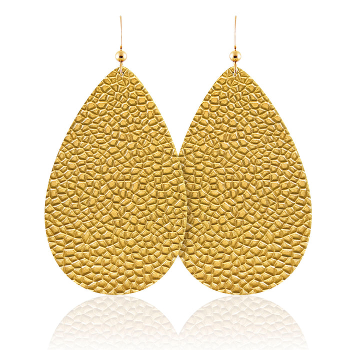 Hammered Gold Teardrop Leather Earrings