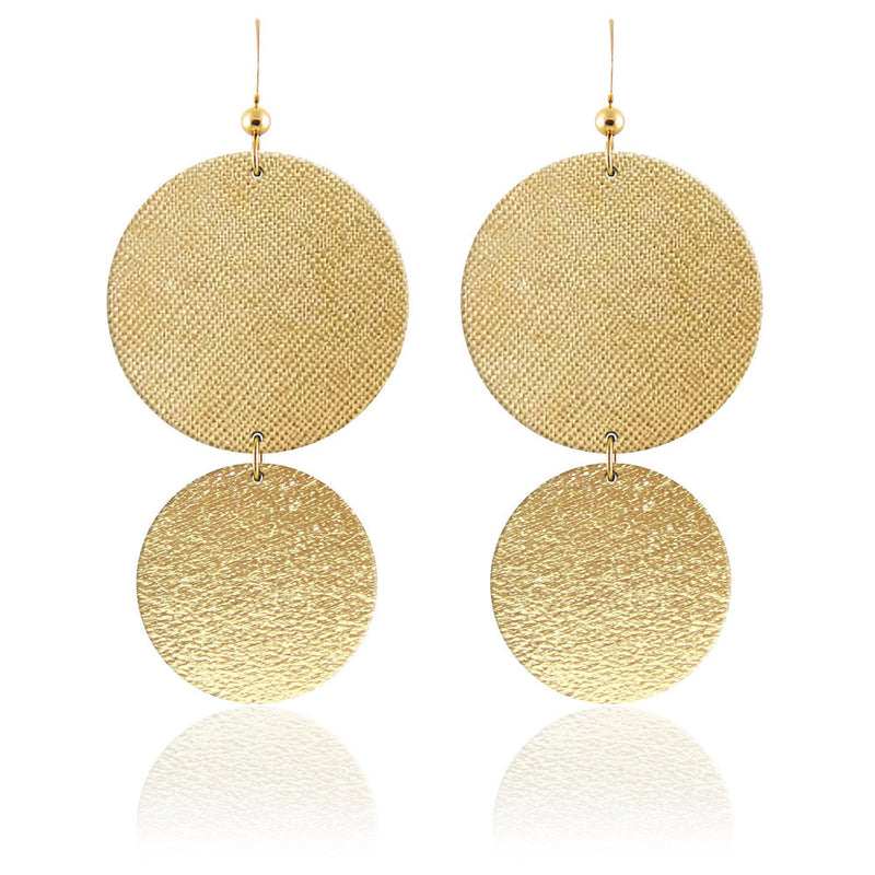 Gold Circular Leather Earrings