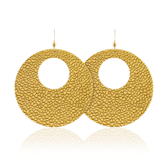 Hammered Gold Revolve Leather Earrings