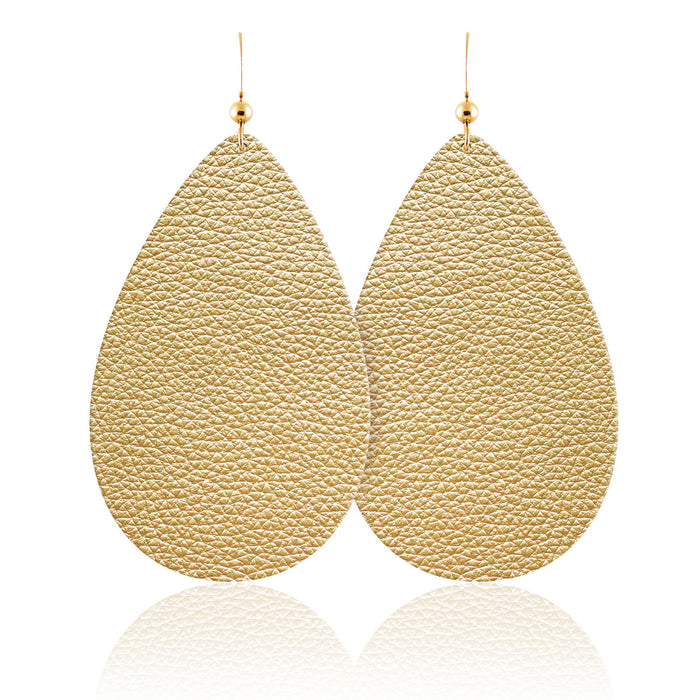 Soft Gold Teardrop Leather Earrings