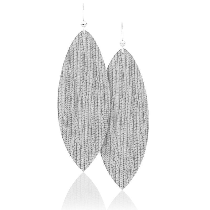 Light Grey Leather Earrings