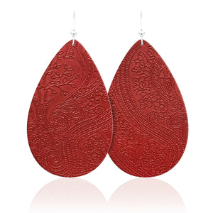 Lady in Red Teardrop Leather Earrings