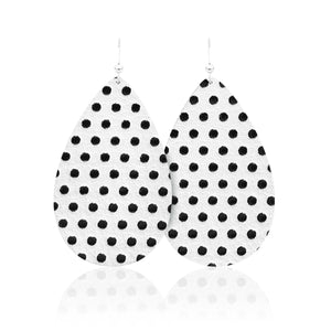 Polka Dot Teardrop Leather Earrings