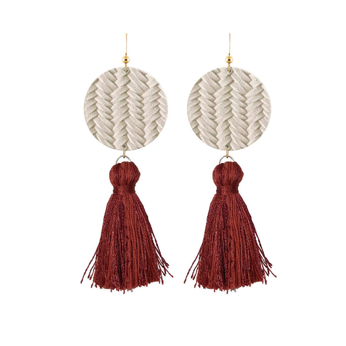 Braided Tassel Leather Earrings