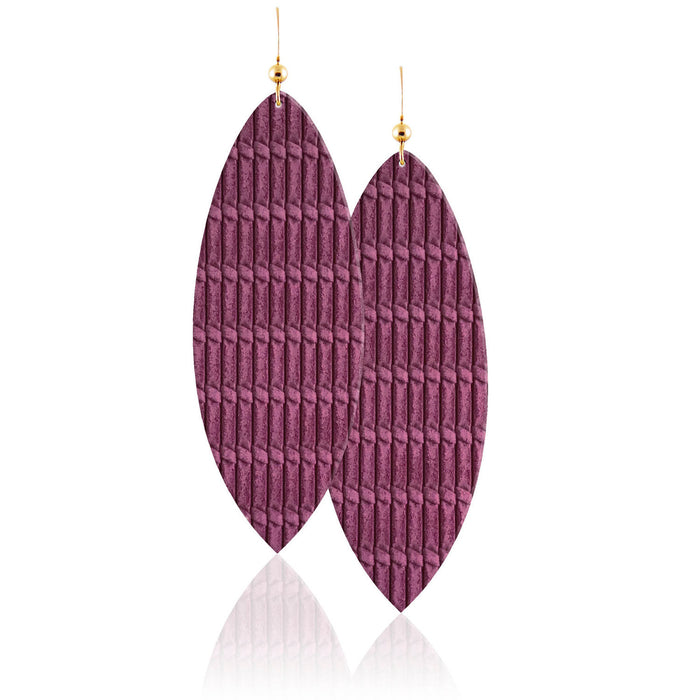 Amethyst Leather Earrings