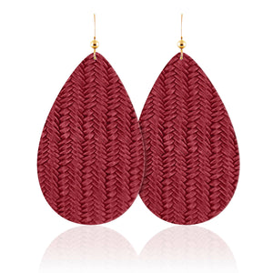 Cranberry Braid Teardrop Leather Earrings