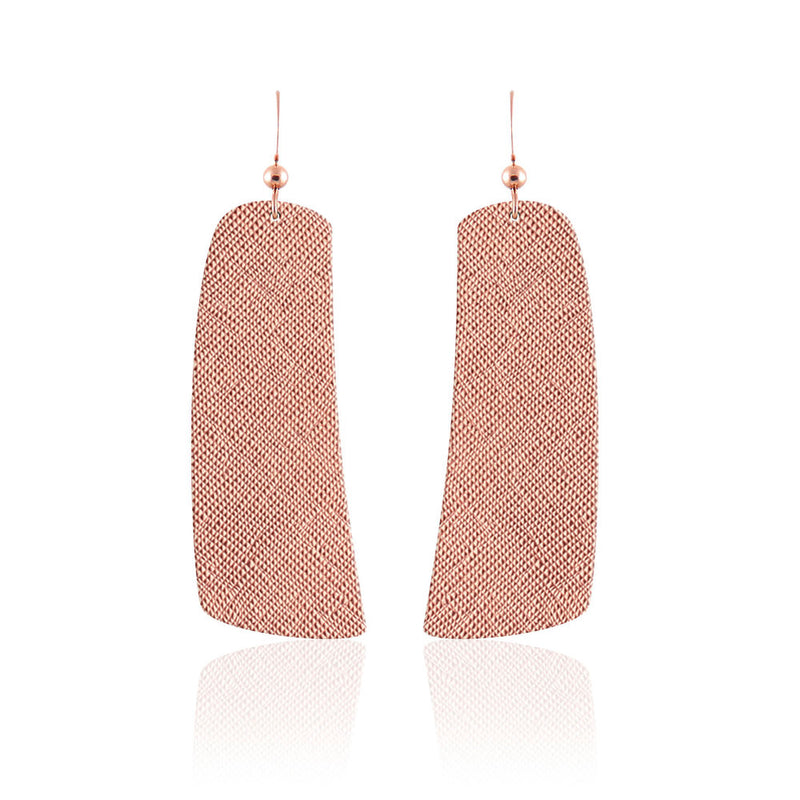 Rose Luster Contour Leather Earrings