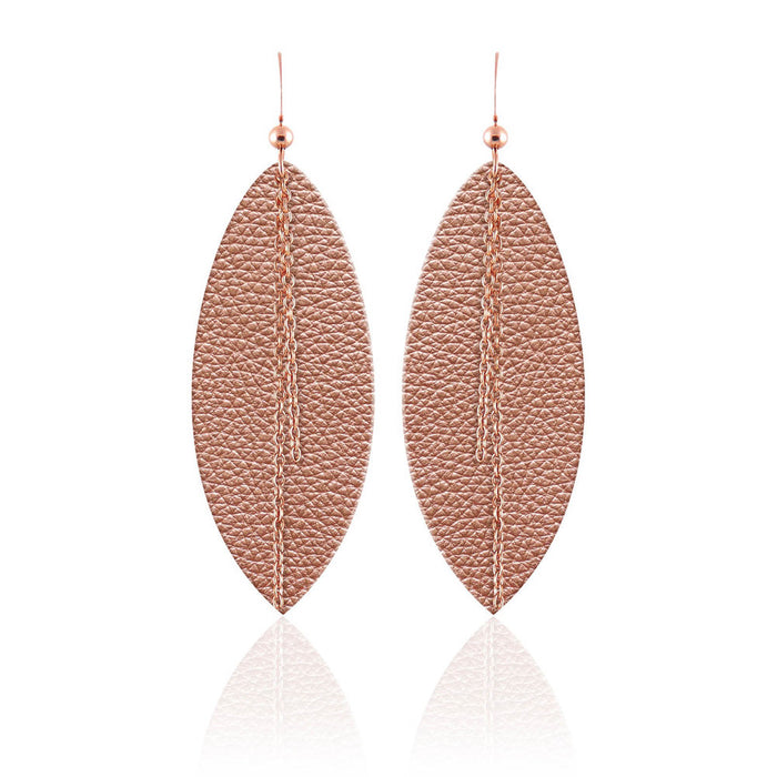 Rose Gold Linked Leather Earrings