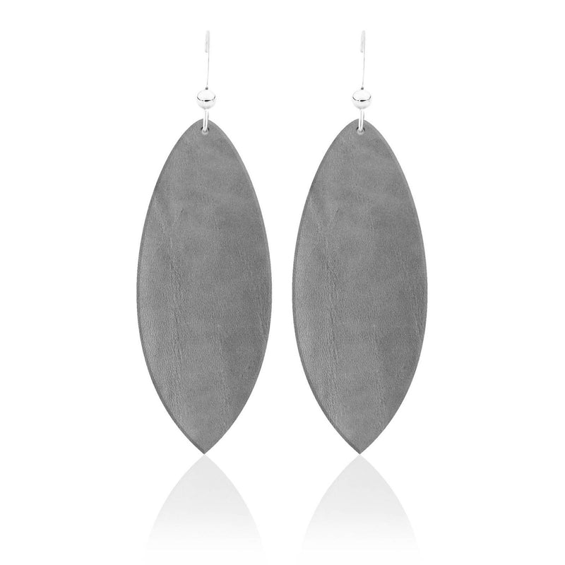 Touch of Grey Leather Earrings