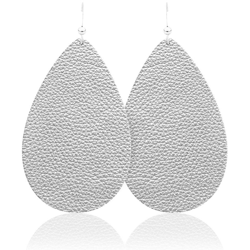Soft Silver Teardrop Leather Earrings